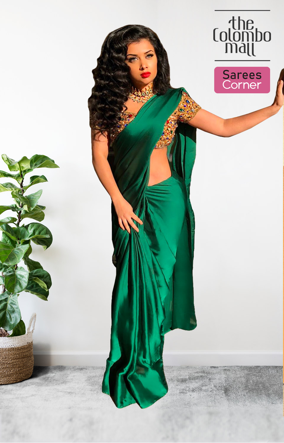 Blooming Dark Green Colored Partywear Plain Silk Satin Saree - The Colombo Mall