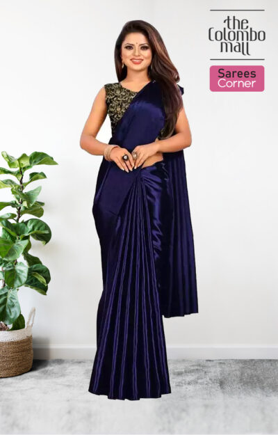 Navy Blue Silk Satin Sarees Online Sri Lanka - The Colombo Mall