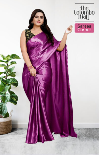 Glowing Dark Purple Colored Party Wear Plain Silk Satin Saree