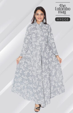 Long Sleeve high neck floral printed maxi dress