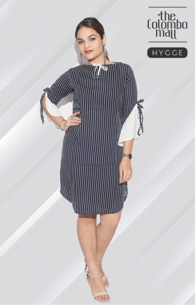 Open Sleeve Stripes Design Black Short Dress