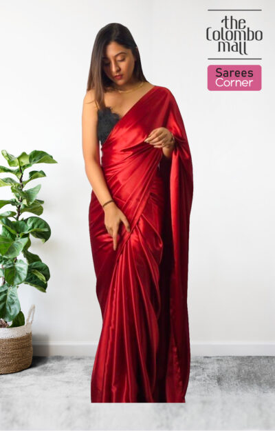 Arresting Dark Red Colored Party Wear Silk Satin Saree