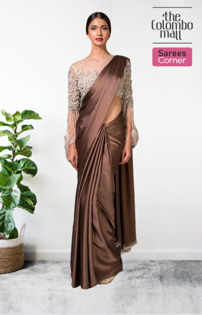 The Colombo Mall Magnetic Coffee Brown Colored Partywear Plain Silk Satin Saree