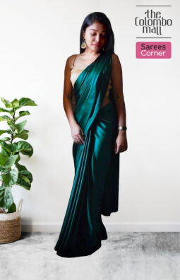 The Colombo Mall Mesmeric Blue-Green Colored Partywear Silk Satin Saree