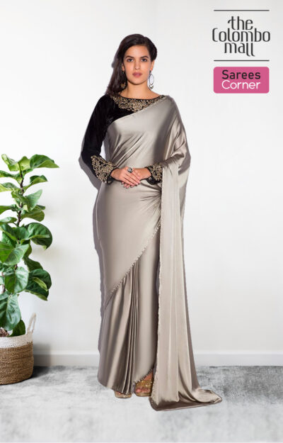 The Colombo Mall Refreshing-Silver Colored Plain Partywear Silk Satin Saree