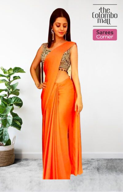 The Colombo Mall Stunning Orange Colored Festive Wear Plain Silk Satin Saree