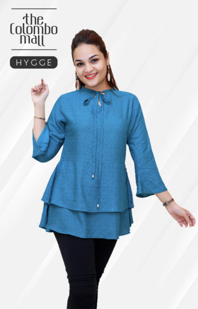 Three Quarter Sleeve Blue Women Top in Srilanka