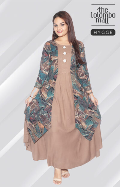Three Quarter Sleeve Double Layer Top Button Design Maxi Dress