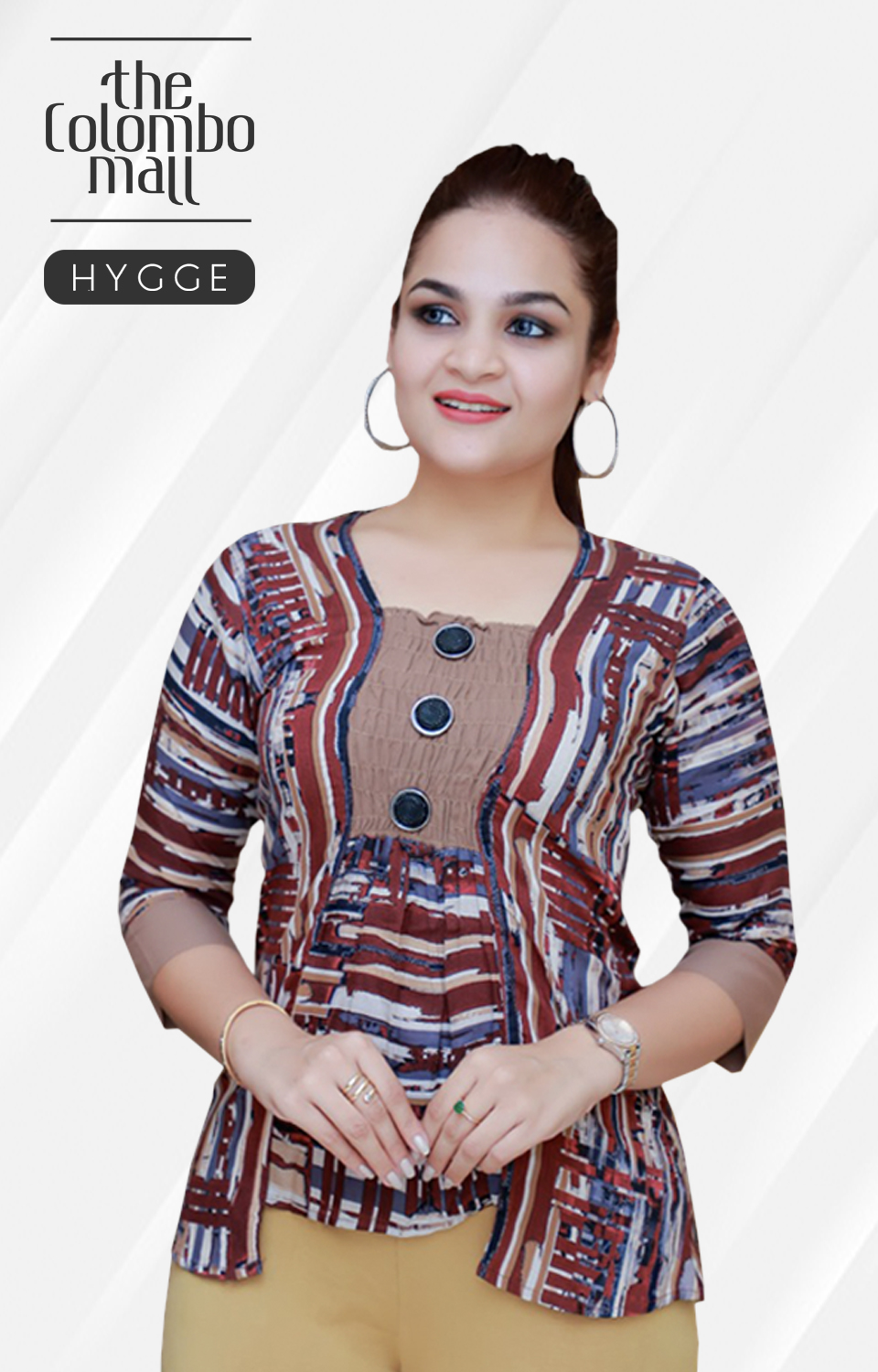 Tight Sleeve Color Pattern Women Top in Srilanka