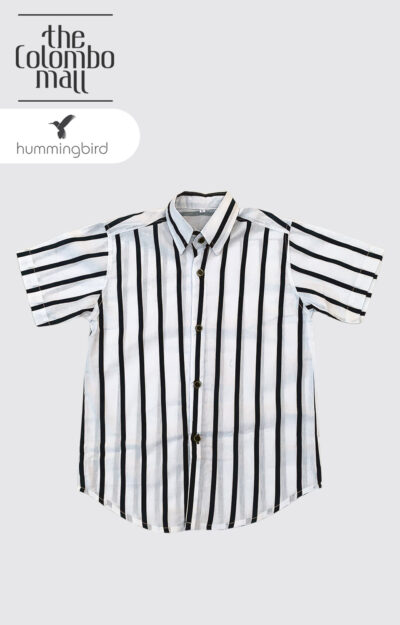 Black Vertical Striped Short Leaves Shirt in Sri Lanka
