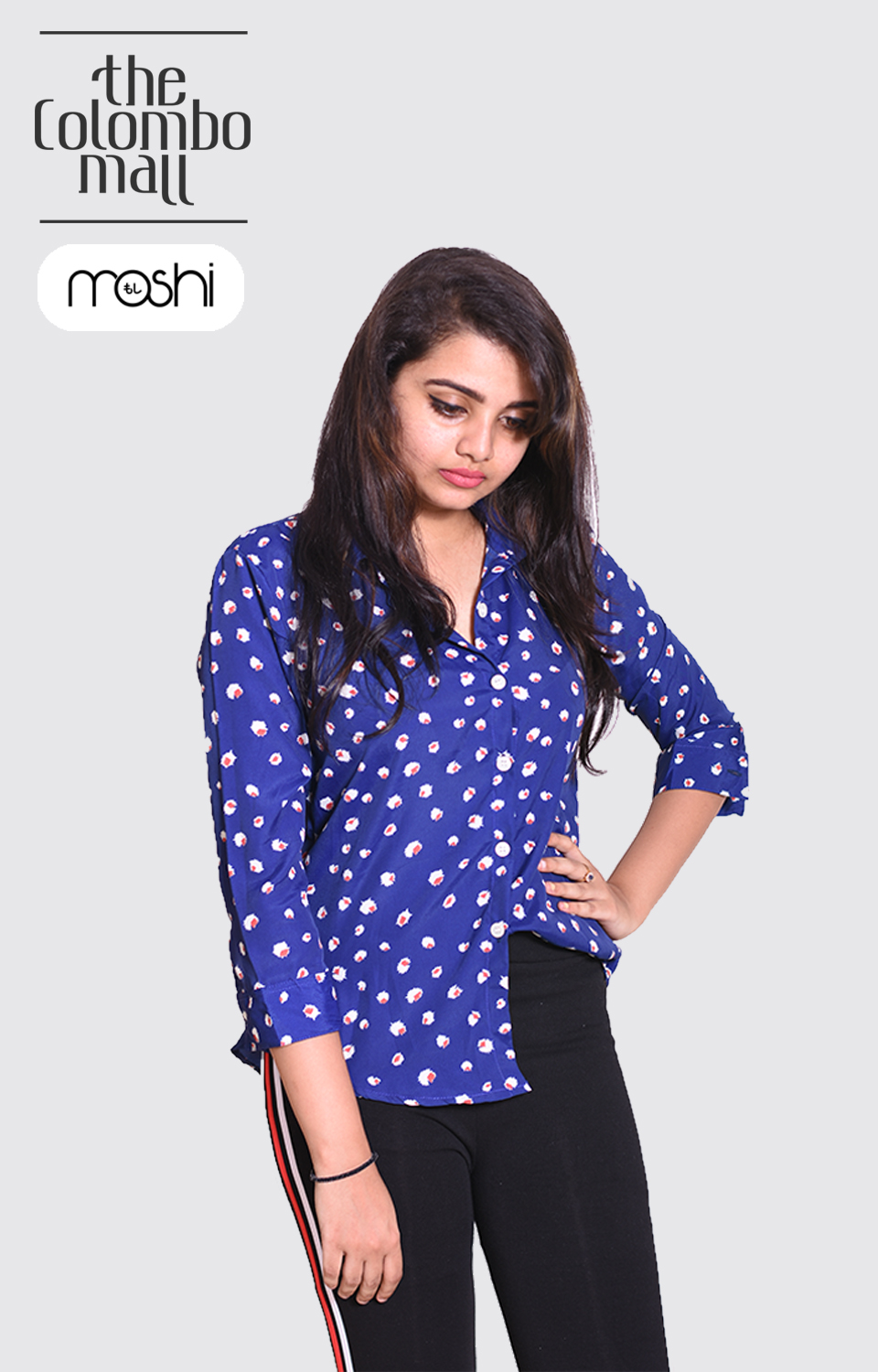 Blue Color Printed Long Slevees Ladies Shirt in Sri Lanka
