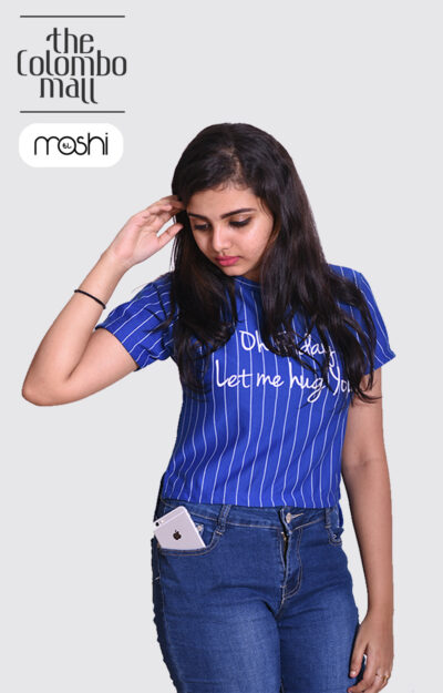 Blue Vertical Striped T Shirts for Ladies in Sri Lanka