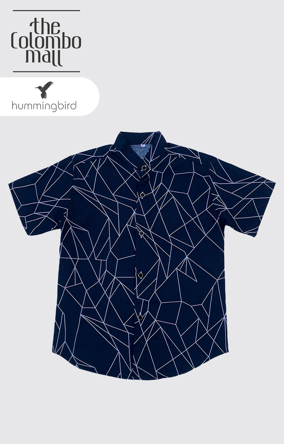 Dark Blue White Line Printed Short Leaves Shirt in Sri Lanka
