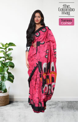 Dark Pink Printed Handloom Batik Saree with Black Border and Pink Tassels in Sri Lanka