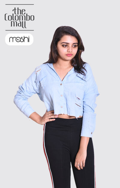 Distressed Light Blue Longs Sleeves Shirts For Ladies in Sri Lanka