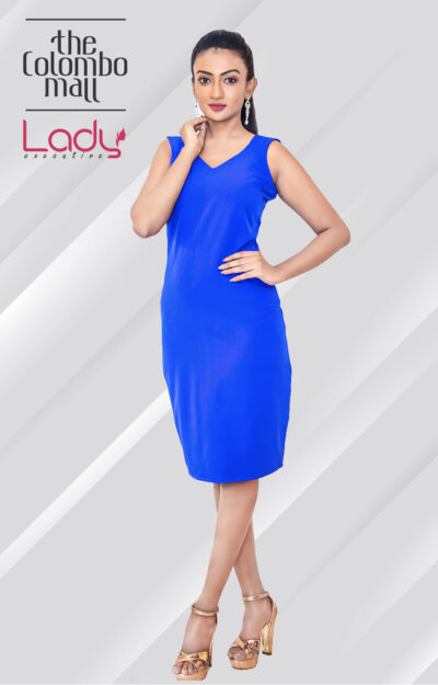 Glamorous Blue Midi Office Wear Dress Sri Lanka