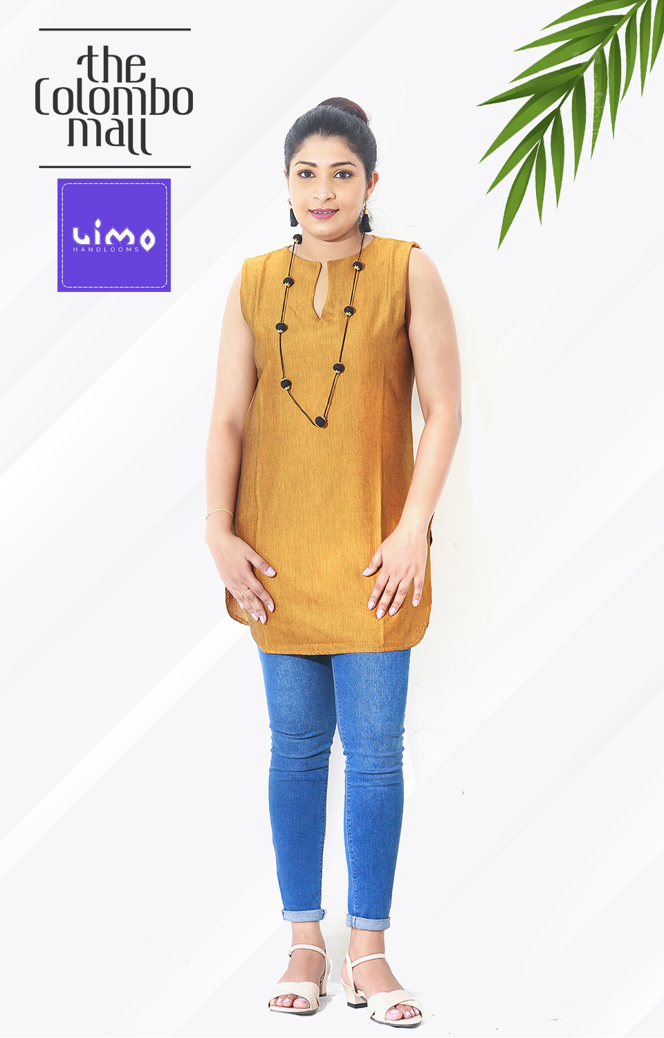 Handloom Sleeves less Yellow Color Top in Sri Lanka
