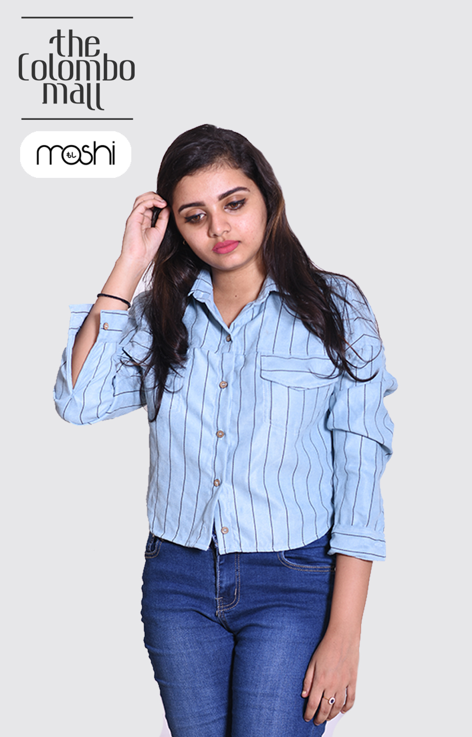 Light Blue Color Vertical Striped Long Sleeves Shirts for Ladies in Sri Lanka