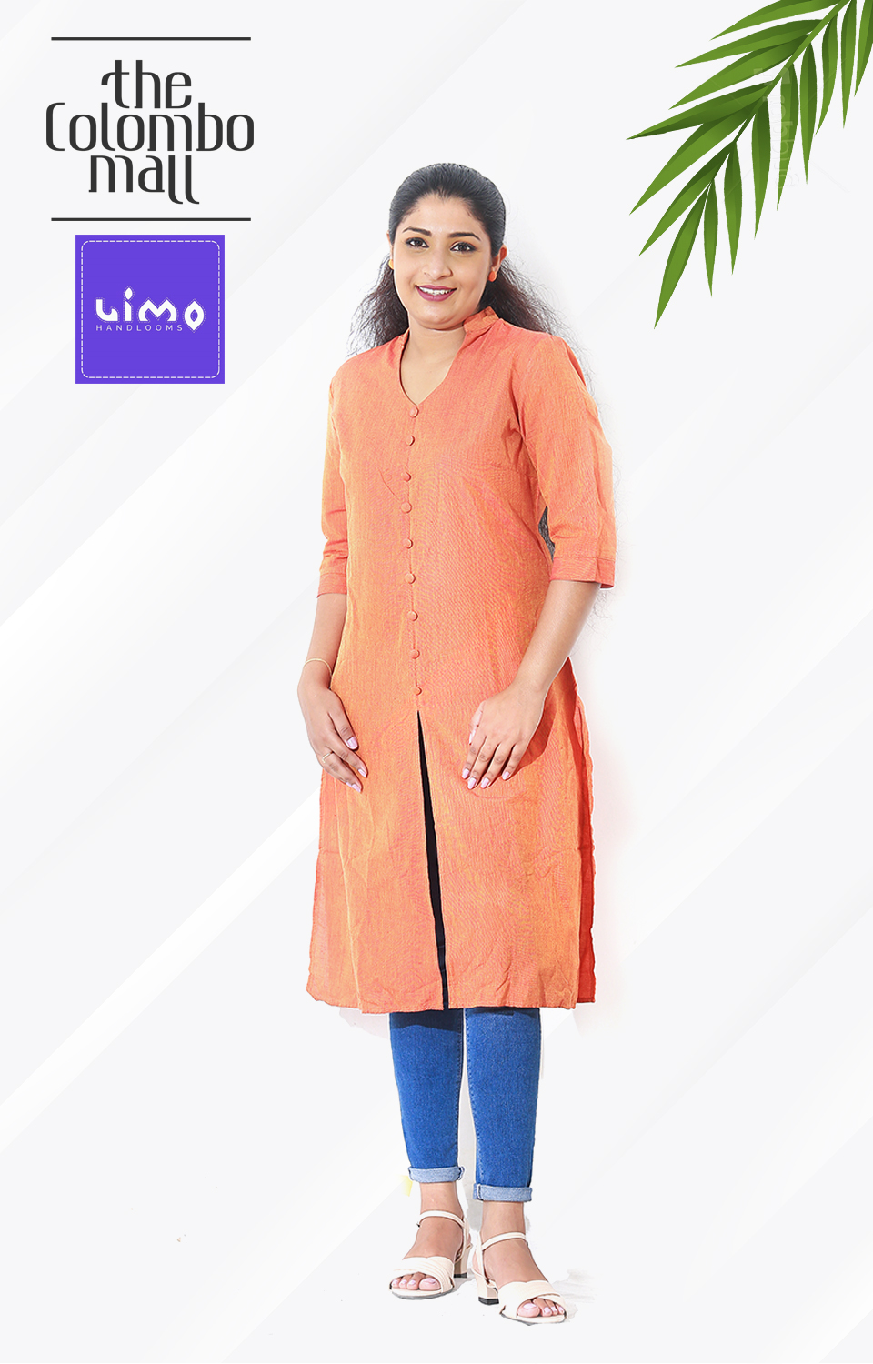 Light Orange Handloom Kurtis Top Sri Lanka