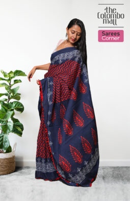 Midnight Blue and Red Color Batik Saree in Sri Lanka