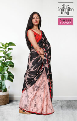 Pink Flare and Black Color Batik Saree in Sri Lanka