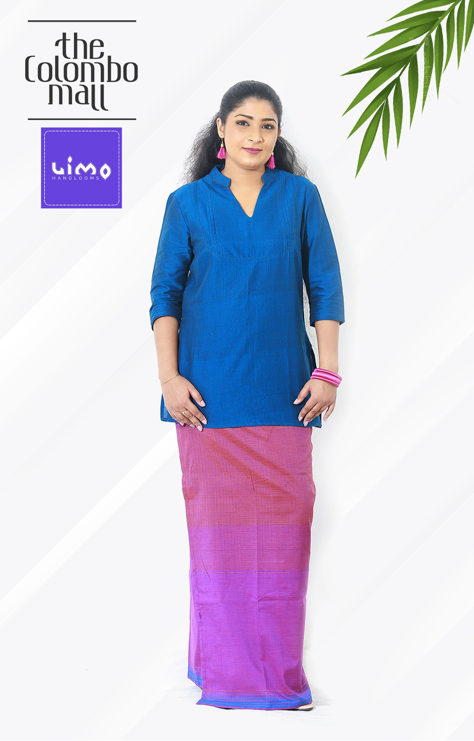 Pink and Purple Color Shaded Woman Lungi Dress In Sri Lanka