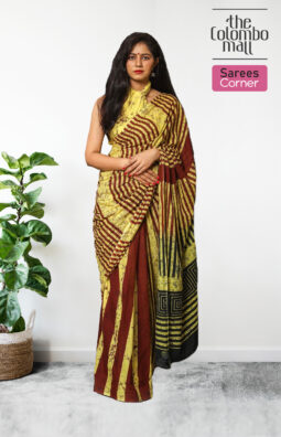 Red and Yellow Handloom Batik Saree in Sri Lanka