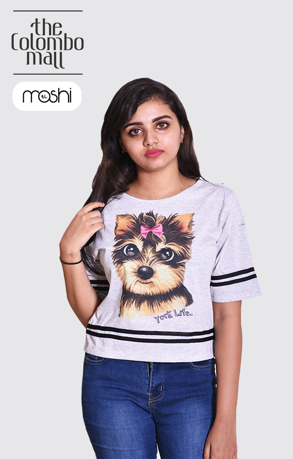 Round Neck Cat Printed Short slevees T Shirt in Sri Lanaka