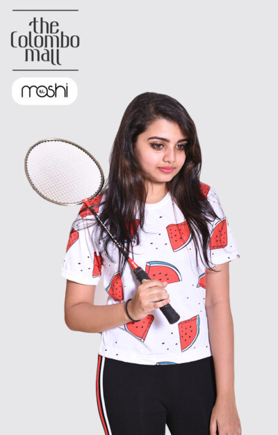 White Color Fruit Printed Short Sleeves Ladies T Shirt in Sri Lanka