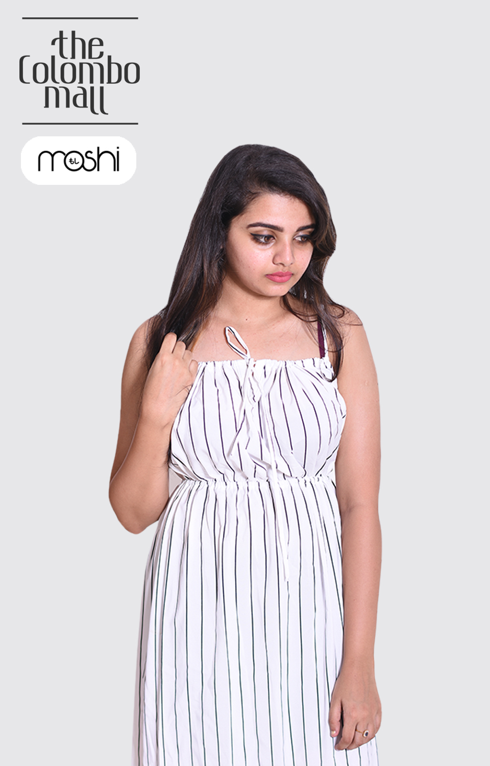 White Color Black Striped Sleeves Less Ladies Frock in Sri Lanka