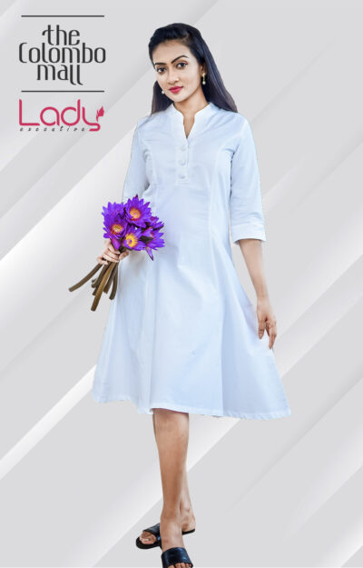 Charming White Office Wear Dress Sri Lanka
