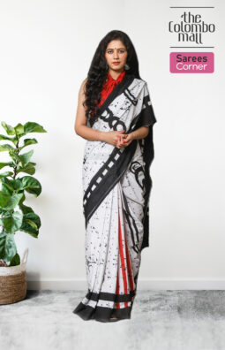 White and Red Batik Saree with Black Border