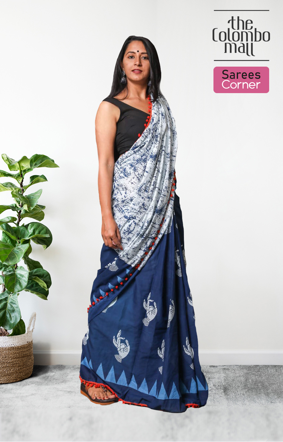 White and Blue Printed Handloom Cotton Saree with Red Tassels in Sri Lanka
