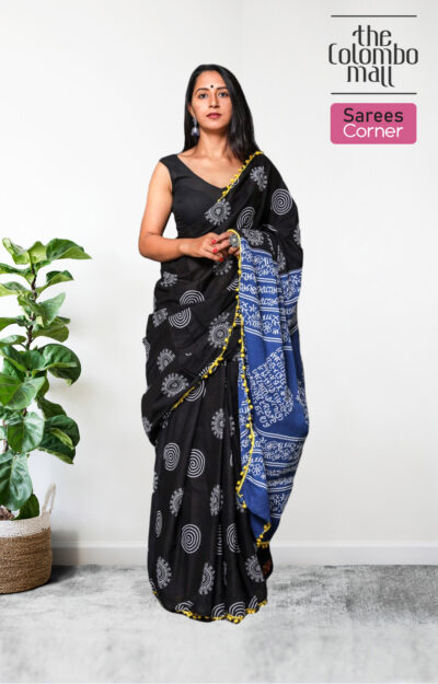 Black and Blue Colored Printed batik Saree in Sri Lanka