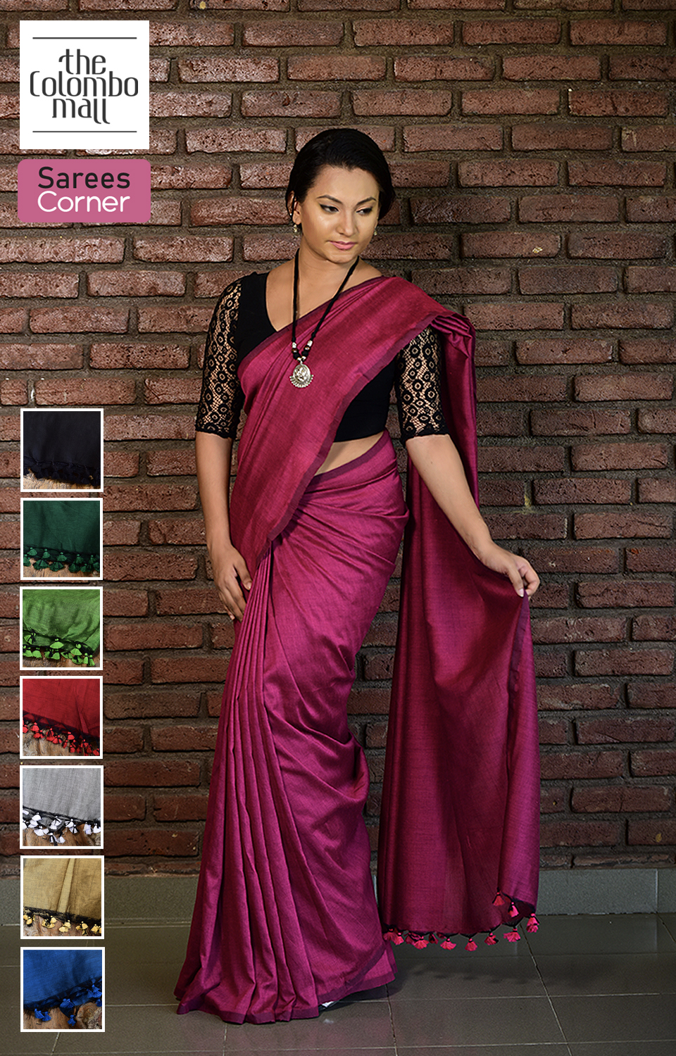 plain color Indian handloom cotton saree with tassels Sri Lanka