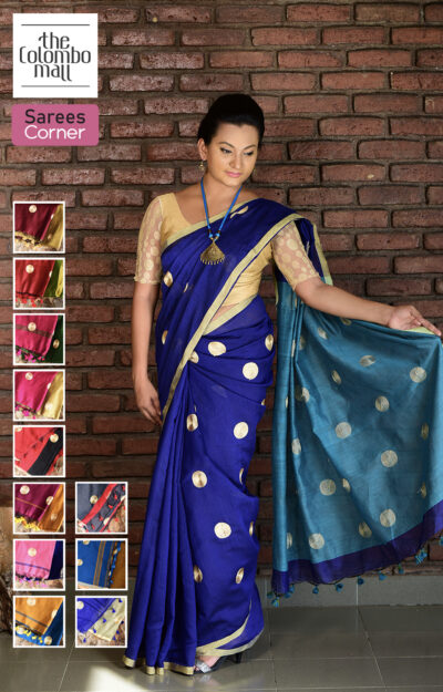 Embroidered Indian handloom cotton saree Sri Lanka