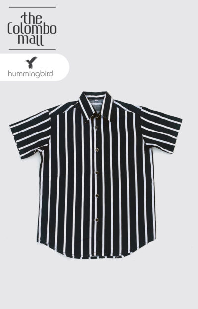 White Vertical Striped Short Leaves Shirt in Sri Lanka