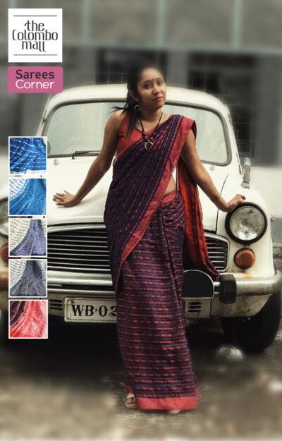 Embroidered Handloom Cotton Saree Sri Lanka