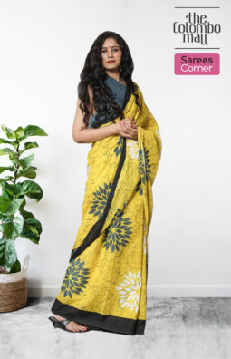 Yellow Floral Batik Saree in Sri Lanka