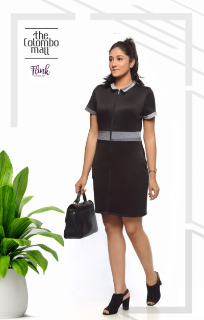 2 Collar Black Shift Dress-1 Office Wear Sri Lanka