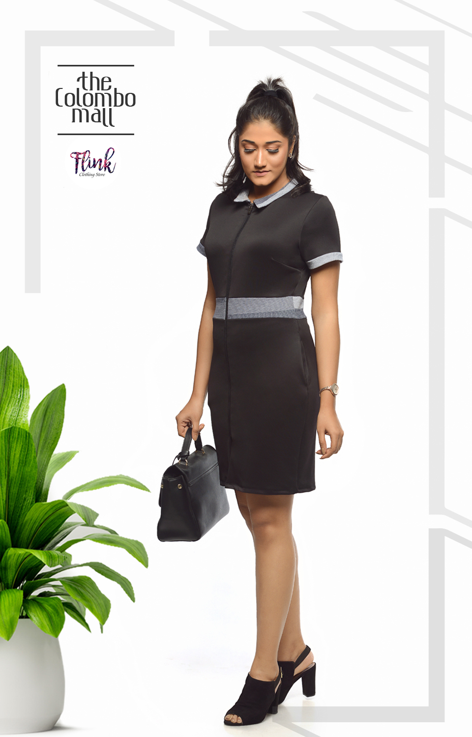 2 Collar Black Shift Dress-2 Office Wear Sri Lanka