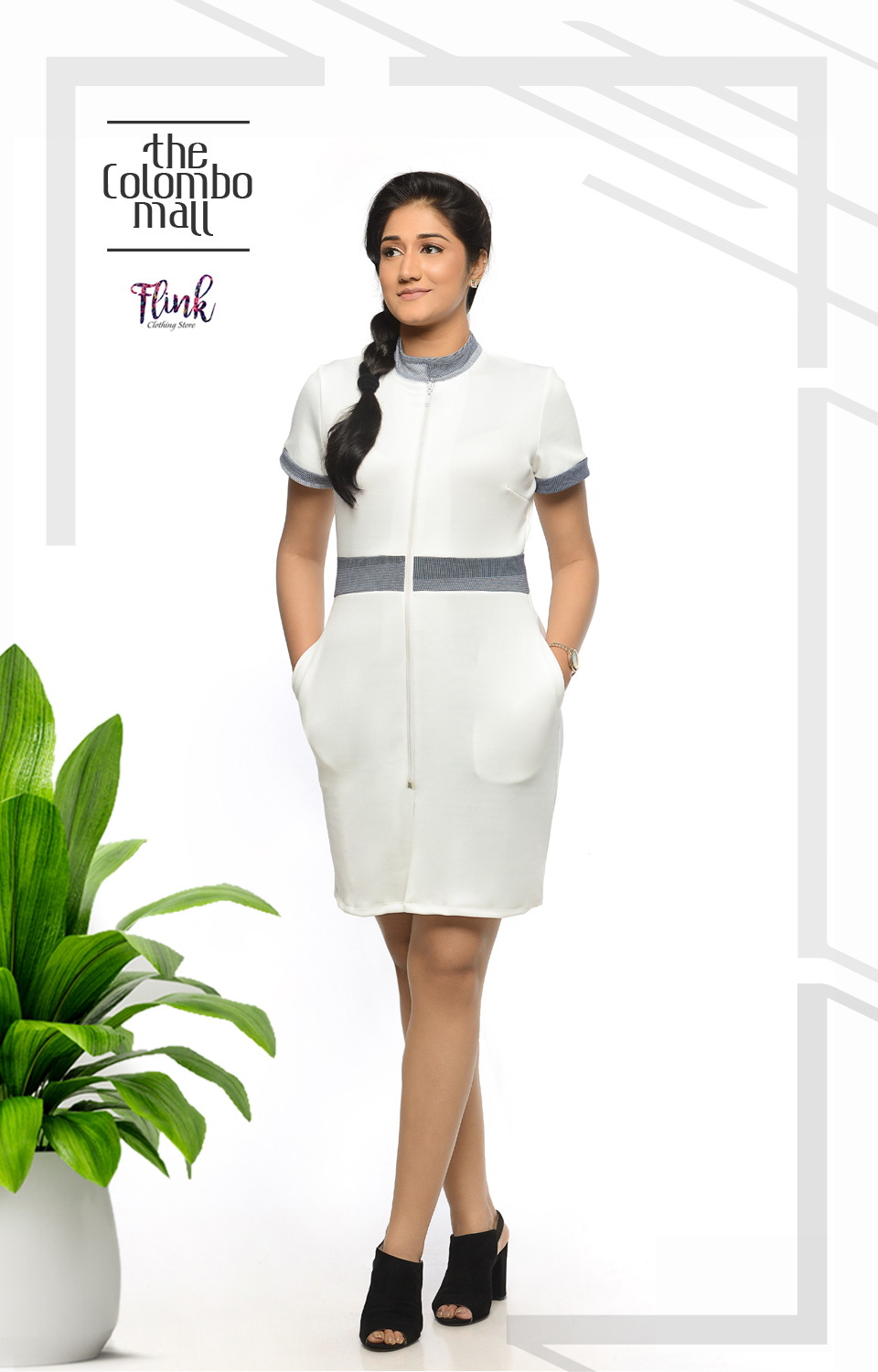 2 Collar White Shift Dress-1 Office Wear Sri Lanka