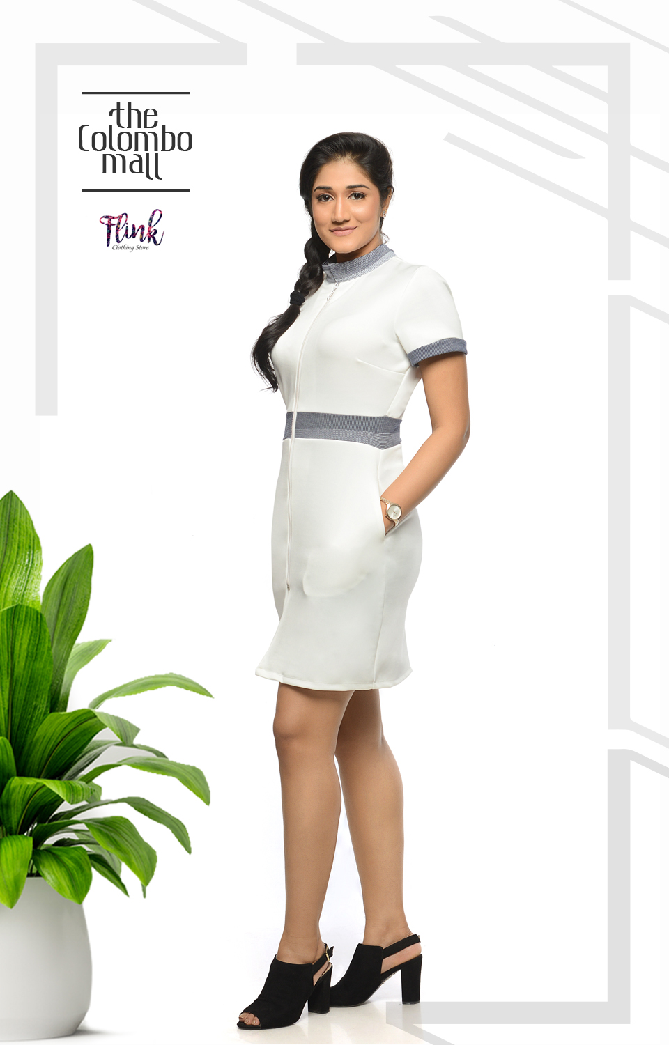 2 Collar White Shift Dress-2 Office Wear Sri Lanka