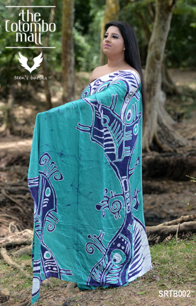 Blue Color Silk Batik Saree Sri Lanka