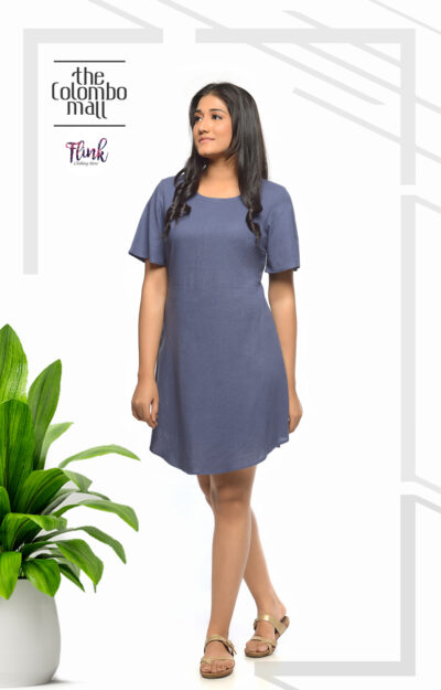 Carolina Butterfly Blue Linen Dress Office Wear