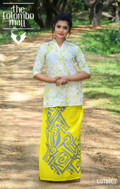 Cotton Batik Party Wear Lungi & Kurthi Top Sri Lanka