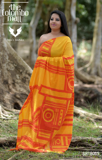 Orange Super Voil Batik Saree Sri Lanka