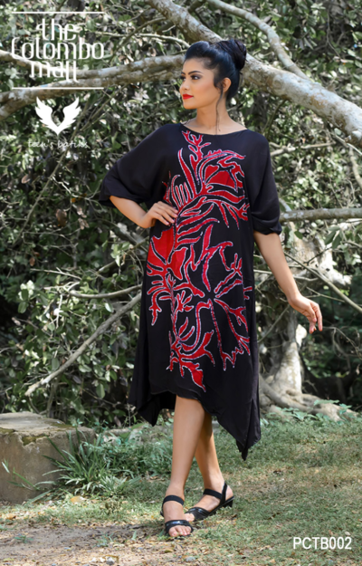 Red & Blue Silk Batik Poncho Dress