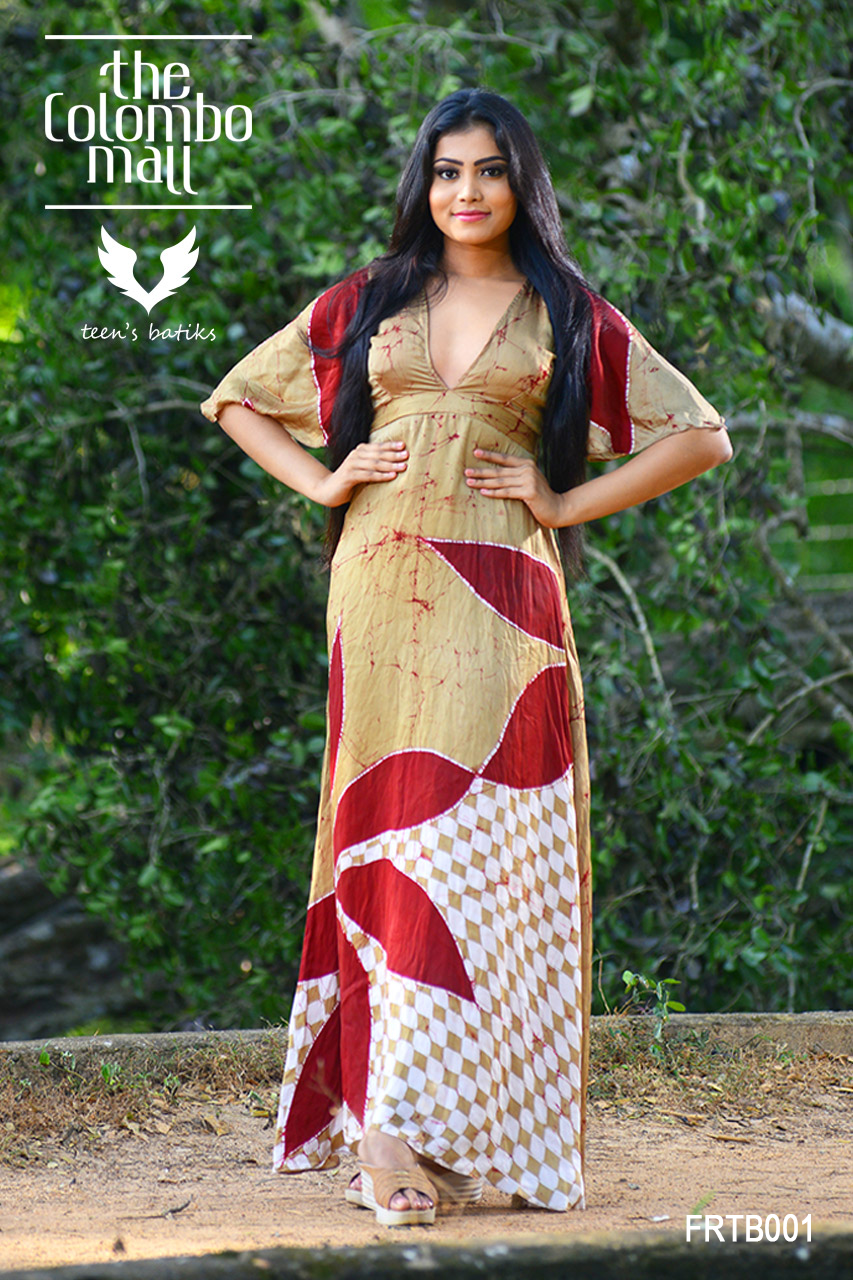 Red Silk Batik Party Wear Maxi Dress