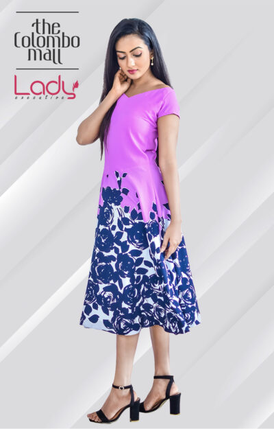 Off-shoulder Office Wear Floral Dress Sri Lanka